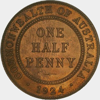 1924 Proof Half Penny reverse