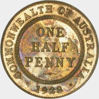 1928 Proof Half Penny reverse