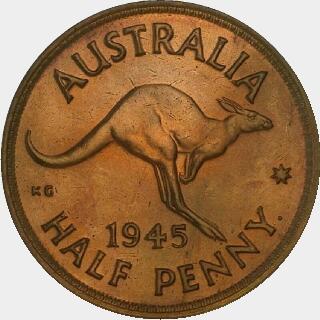 1945-Y Proof Half Penny reverse