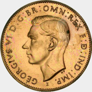 1943-I Restrike Half Penny obverse