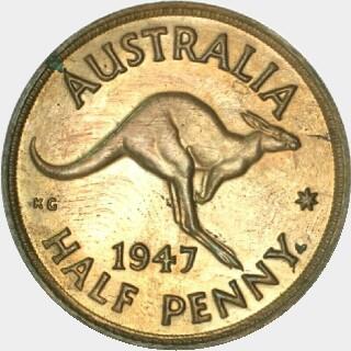 1947-Y Proof Half Penny reverse