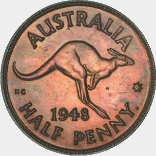1948-Y Proof Half Penny reverse