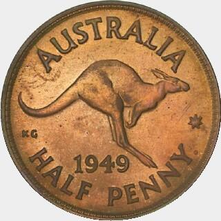 1949-Y Proof Half Penny reverse