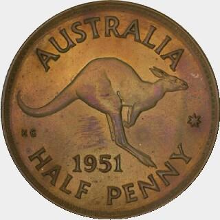 1951 Proof Half Penny reverse