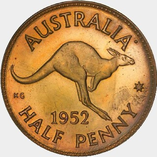 1952-A Proof Half Penny reverse