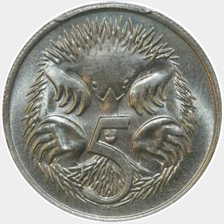 1977  Five Cent reverse