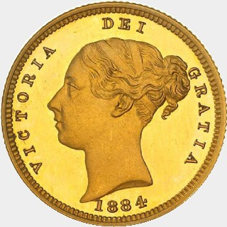 1884-M Low Relief Proof Half Sovereign obverse