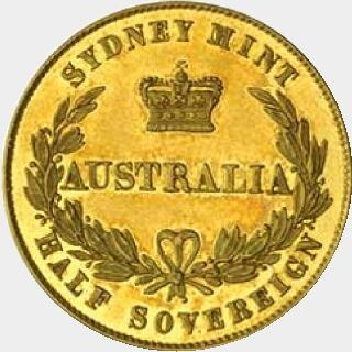 1856 Proof Half Sovereign reverse