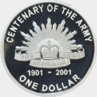 2001 Silver Proof One Dollar reverse