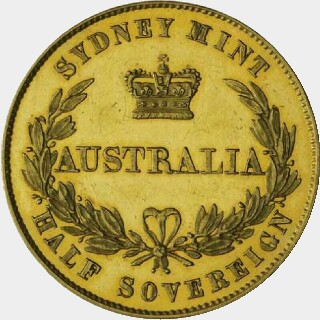 1857 Plain Edge Proof Half Sovereign reverse