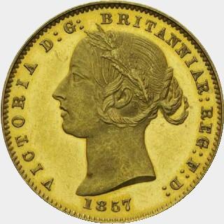 1857 Plain Edge Proof Half Sovereign obverse