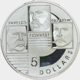 2001 Silver Proof Five Dollar reverse