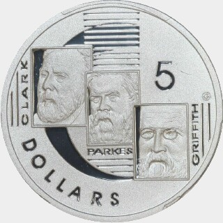 2001 Silver Proof Five Dollar reverse