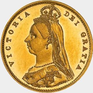1889-M Pattern Half Sovereign obverse