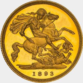 1893-M Proof Half Sovereign reverse