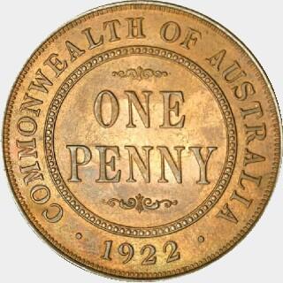1922 Specimen Penny reverse
