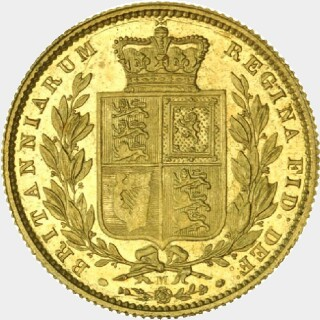 1872-M Specimen Full Sovereign reverse