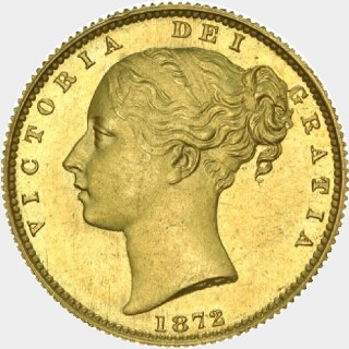 1872-M Specimen Full Sovereign obverse