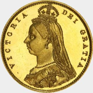 1890-M Pattern Half Sovereign obverse