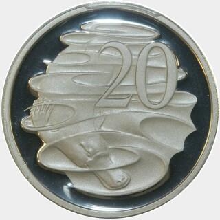 1991 Silver Proof Twenty Cent reverse