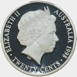 1998 Silver Proof Twenty Cent obverse
