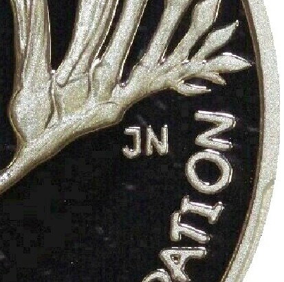Initials of designer Janice NG (JN) on the 2001 Proof (Western Australia) Twenty Cent.