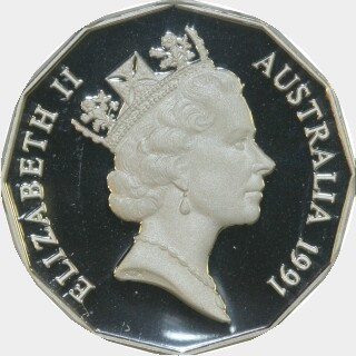 1991 Silver Proof Fifty Cent obverse