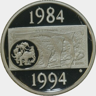 1994 Silver Proof One Dollar reverse