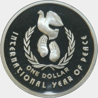 1990 Silver Proof One Dollar reverse
