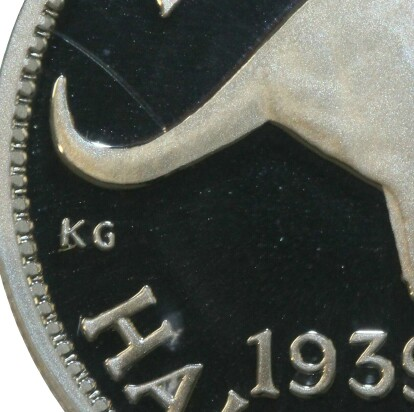 Initials of designer Kruger Gray (KG) on the reverse of the 1999 Silver Proof (1939 Half Penny) Five Cent piece.