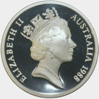1988 Silver Proof Five Dollar obverse