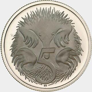 1966 London Mint Proof Five Cent reverse