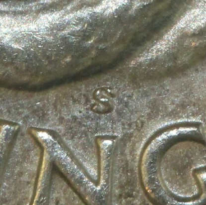 San Francisco 'S' mint-mark on the reverse of a 1944-S Shilling.