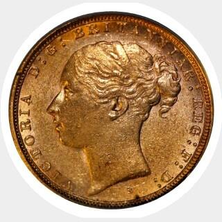 1885-S Wide Truncation Short Tail Full Sovereign reverse