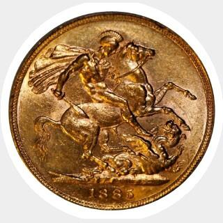 1885-S Wide Truncation Short Tail Full Sovereign obverse
