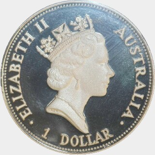 1992-P Proof Silver One Dollar obverse
