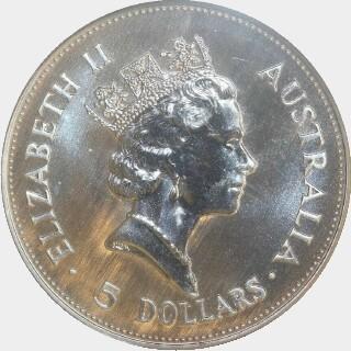 1990-P Silver Five Dollar obverse