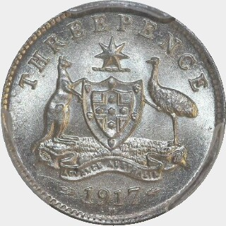 1917-M  Threepence reverse