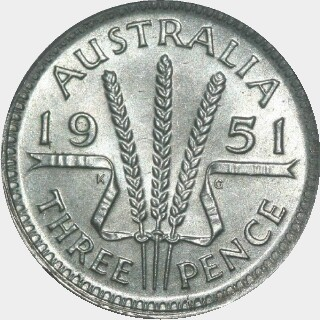 1951  Threepence reverse
