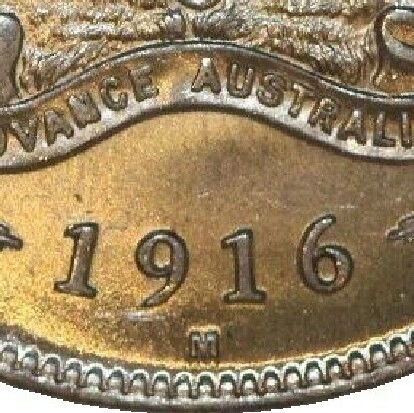 Melbourne 'M' mint-mark on a 1916-M Florin.