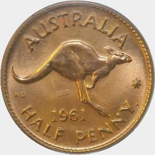 1961-Y Proof Half Penny reverse
