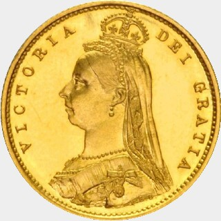 1892-M Pattern Half Sovereign obverse