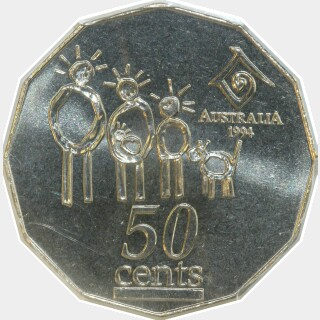 1994 Wide Date Fifty Cent reverse