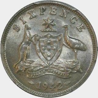 1942  Sixpence reverse