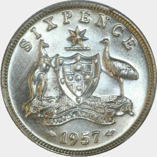 1957  Sixpence reverse