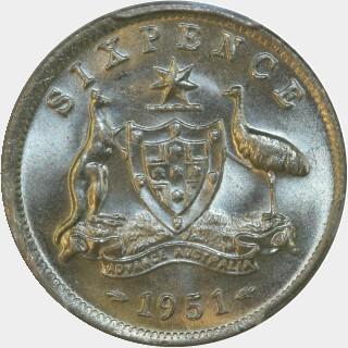 1951  Sixpence reverse