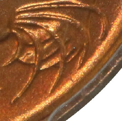 No blunted whiskers indicate that the 1966 One Cent was minted in Canberra.