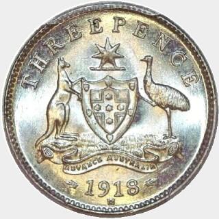 1918-M  Threepence reverse