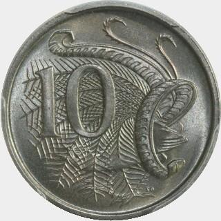 1966 Five spikes Ten Cent reverse