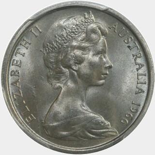 1966 Five spikes Ten Cent obverse
